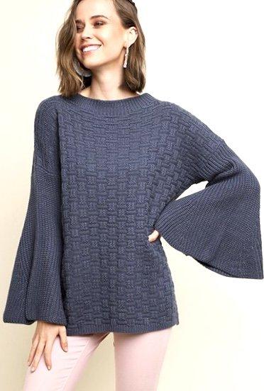 Dusty Navy Knit Sweater w/ Bell Sleeve