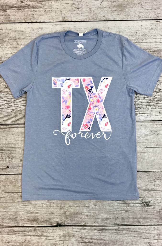 "Baby Blue Floral ""TX"" T-Shirt"