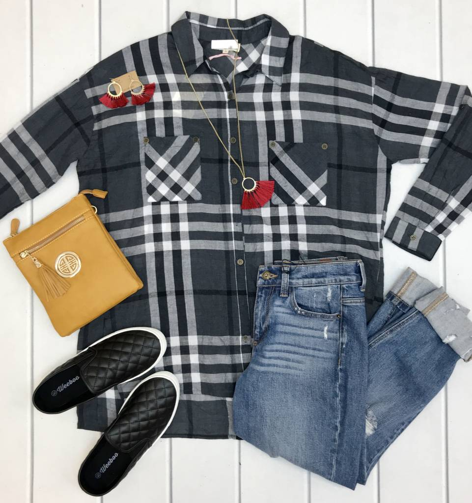 Charcoal Plaid Lightweight Top