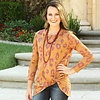 Mustard and Burgundy Leopard LS Knotted Top