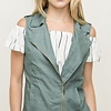Green Chambray Vest- SALE ITEM