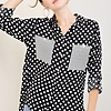 Black with White Polka Dot Button Up Collar Top- SALE ITEM