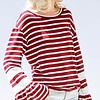 Burgundy Striped Top w/ Bell Sleeves