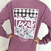Faded Purple Texas Checked and Stripes Long Sleeve T-Shirt