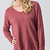 Dusty Pink V-Neck Sweater Top