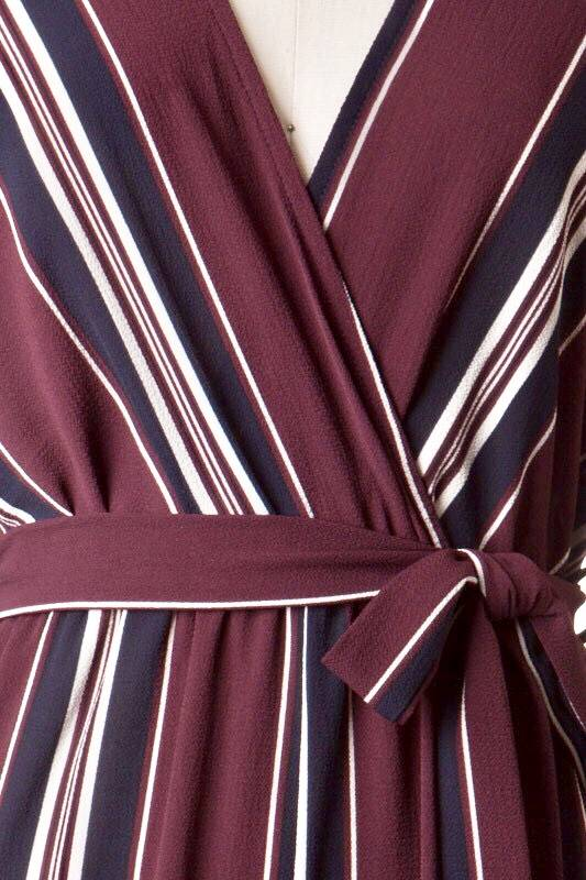 Plum/Navy Striped Jumpsuit with Sleeves