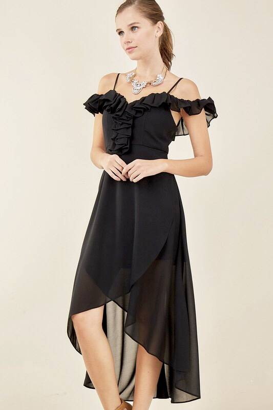 Black Off Shoulder Wrap Dress with Ruffle
