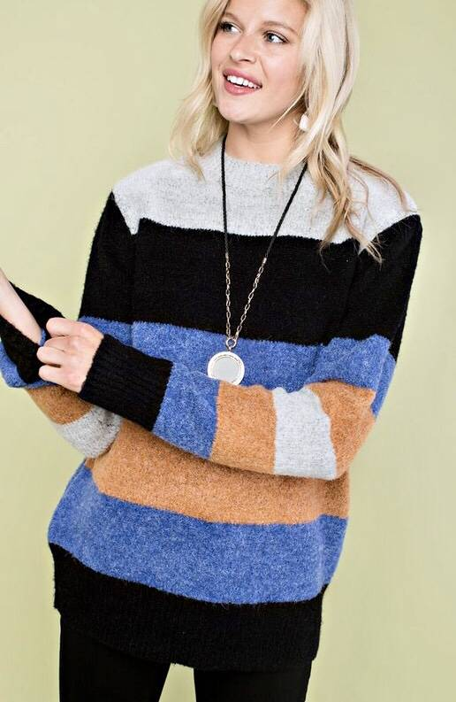Blue Multi Striped Sweater Top