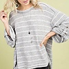 Heather Grey Striped Top with Side Slit