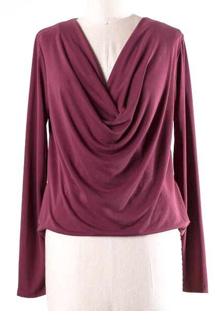 Crossover Cowl Neck LS Top