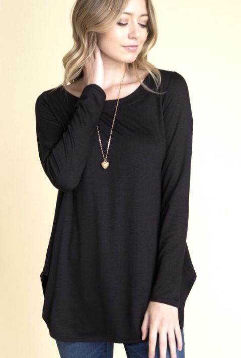 Solid Round Neck LS Top- More Colors