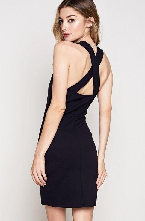 Black X Cross Back Fitted Dress