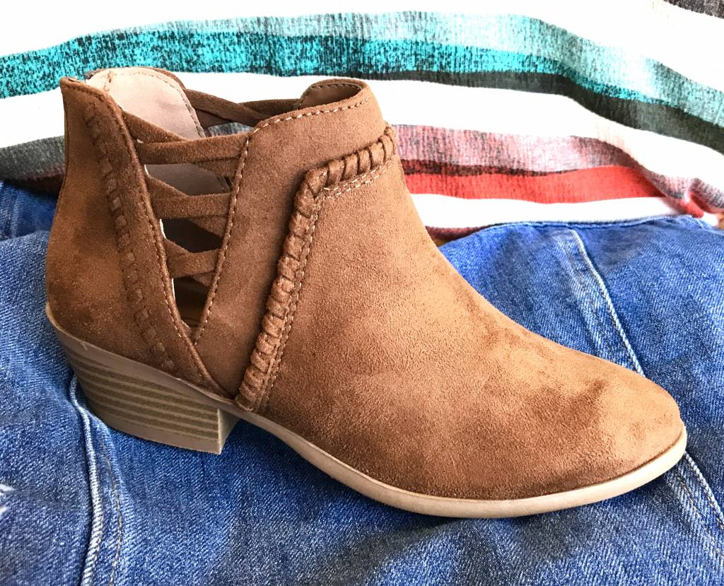 Cognac Short Bootie with Criss Cross Sides