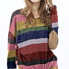 Multi Color Stripe Front Tie Top with Elbow Patch Detail