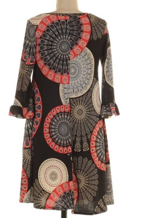 Black and Red Geometric Print Tunic Dress with Ruffle Sleeve