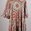 Rust Kaleidoscope Print Ruffle Sleeve Tunic Dress