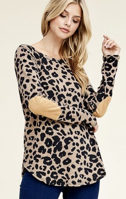 Leopard Knit Top with Elbow Patch