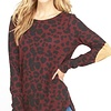 Leopard Knit Top with Elbow Patch - More Colors