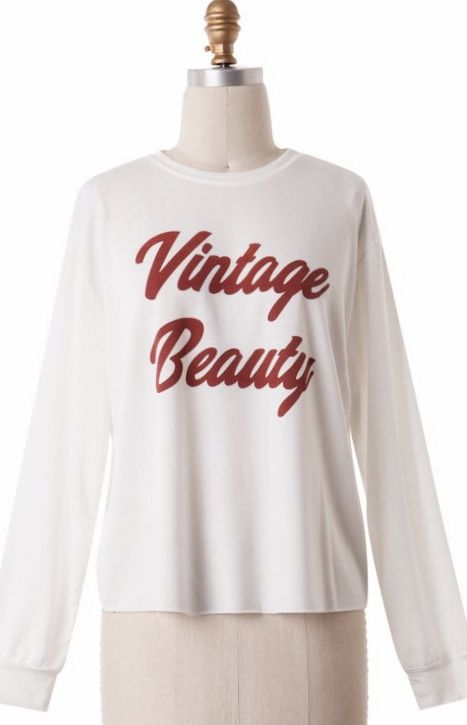 "Ivory ""Vintage Beauty"" Long Sleeve Top"