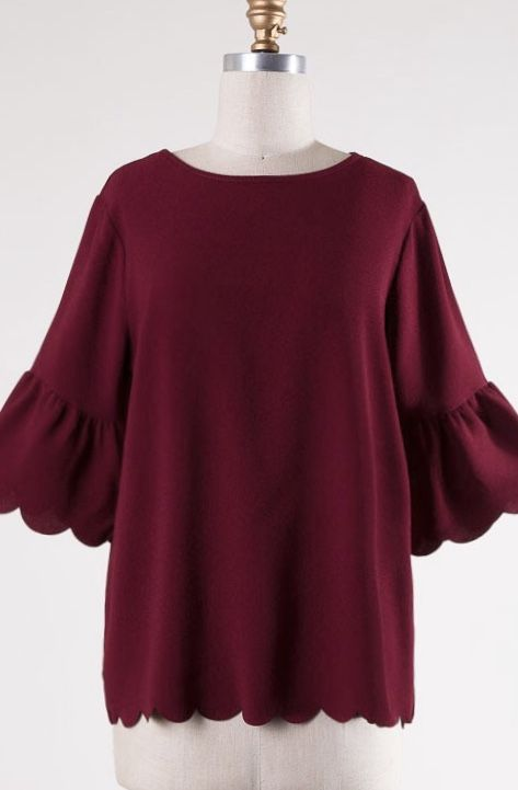 Burgundy 3/4 Bell Sleeve Scalloped Hem Top