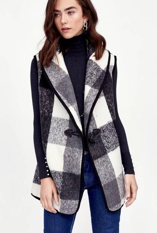 Black and White Buffalo Checkered Vest