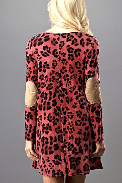 Pink Leopard Dress with Suede Elbow Patch