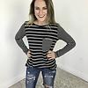 Striped LS Pocket Top