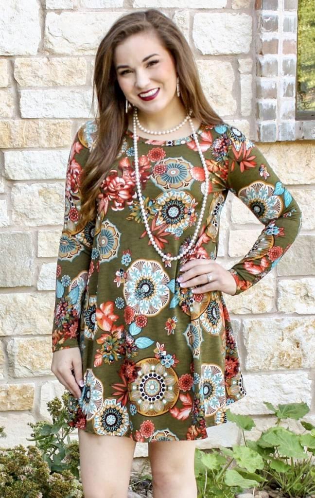 Olive LS Floral Print Tunic Dress