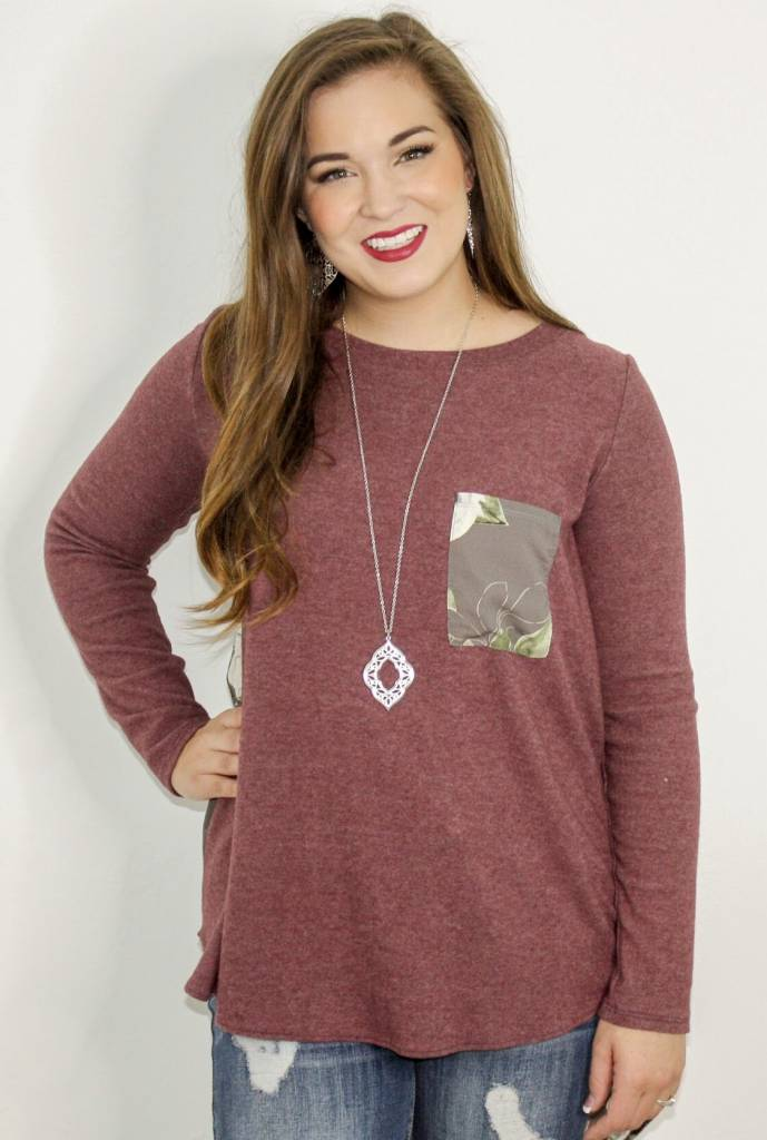 Burgundy Pleated Top with Floral Detail
