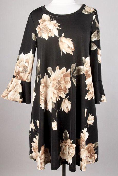 Black/Taupe Floral Tunic Dress-SALE ITEM