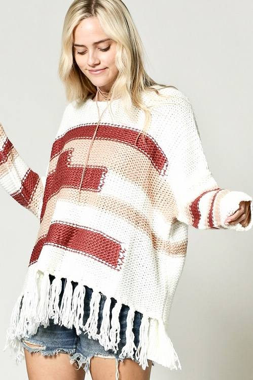 Knit Sweater with Fringe Detail