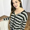 Olive/Black/Grey Striped Button Up LS Ribbed Top