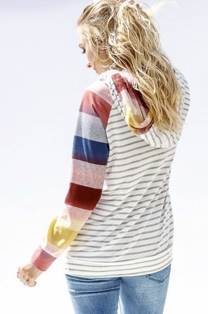 Ivory and Grey Striped Hoodie with Multi Colored Sleeve