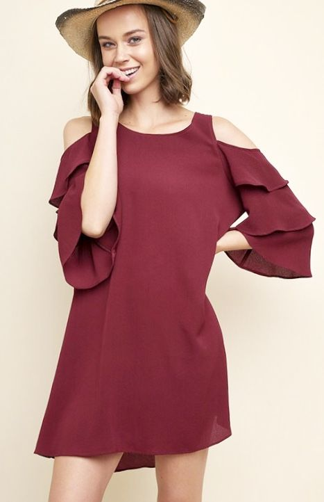 Layered Ruffle Cold Shoulder Dress- More Colors