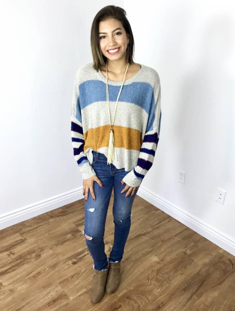 Cream Color Block Dolman Cropped Sweater