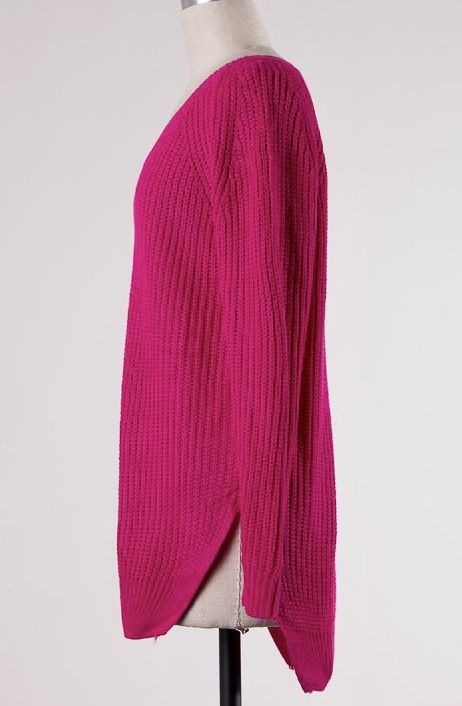Fuchsia Ribbed Cable Knit Sweater