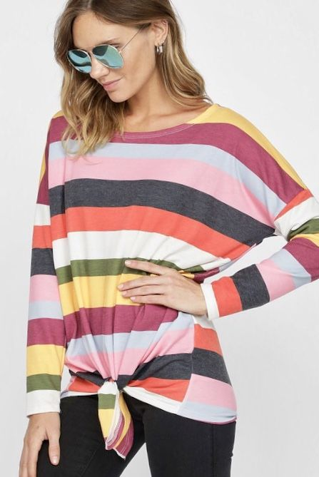 Multi Colored Striped Top with Front Tie