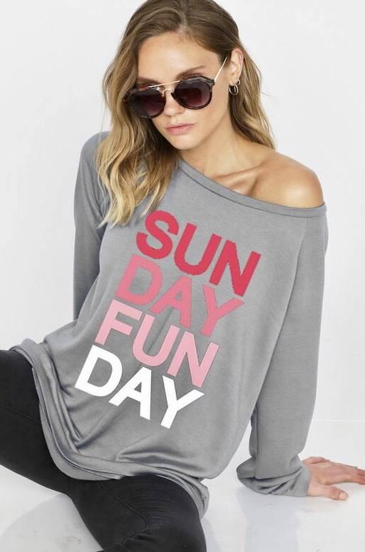 Heather Grey Sunday Funday Graphic Sweatshirt