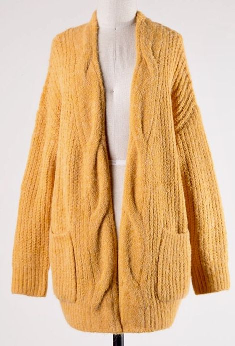 Mustard Ribbed Cardigan with Pockets