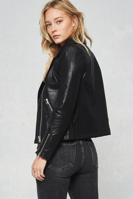 Black Fitted Faux Leather Jacket