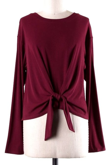 Long Sleeve Top with Front Tie