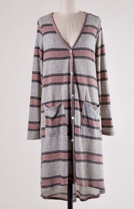 Grey and Mauve Knit Long Sleeve Button Down Duster- SALE ITEM
