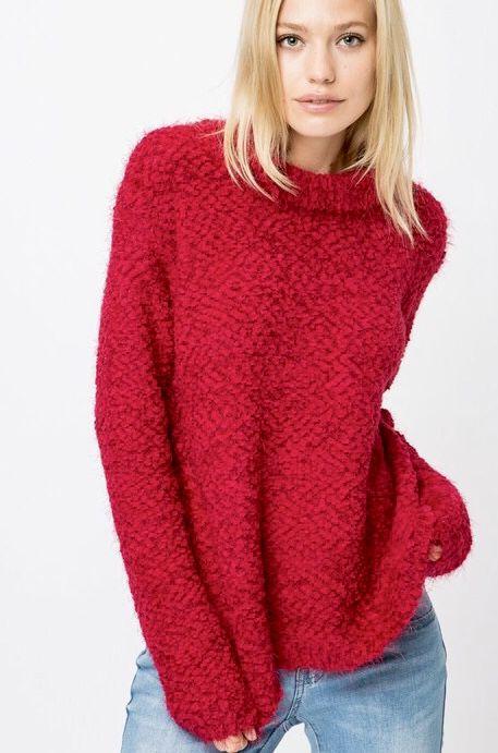 Cranberry Popcorn Plush Sweater