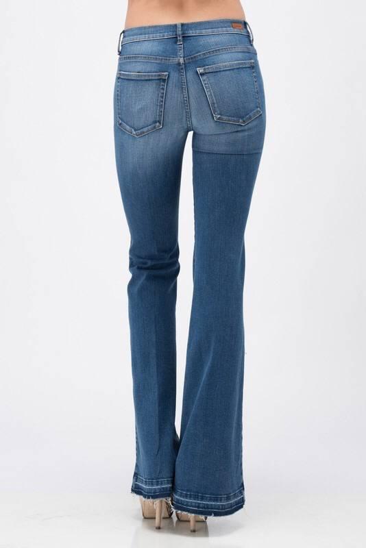 Medium Wash High Rise Flare Jean with Bottom Side Slit