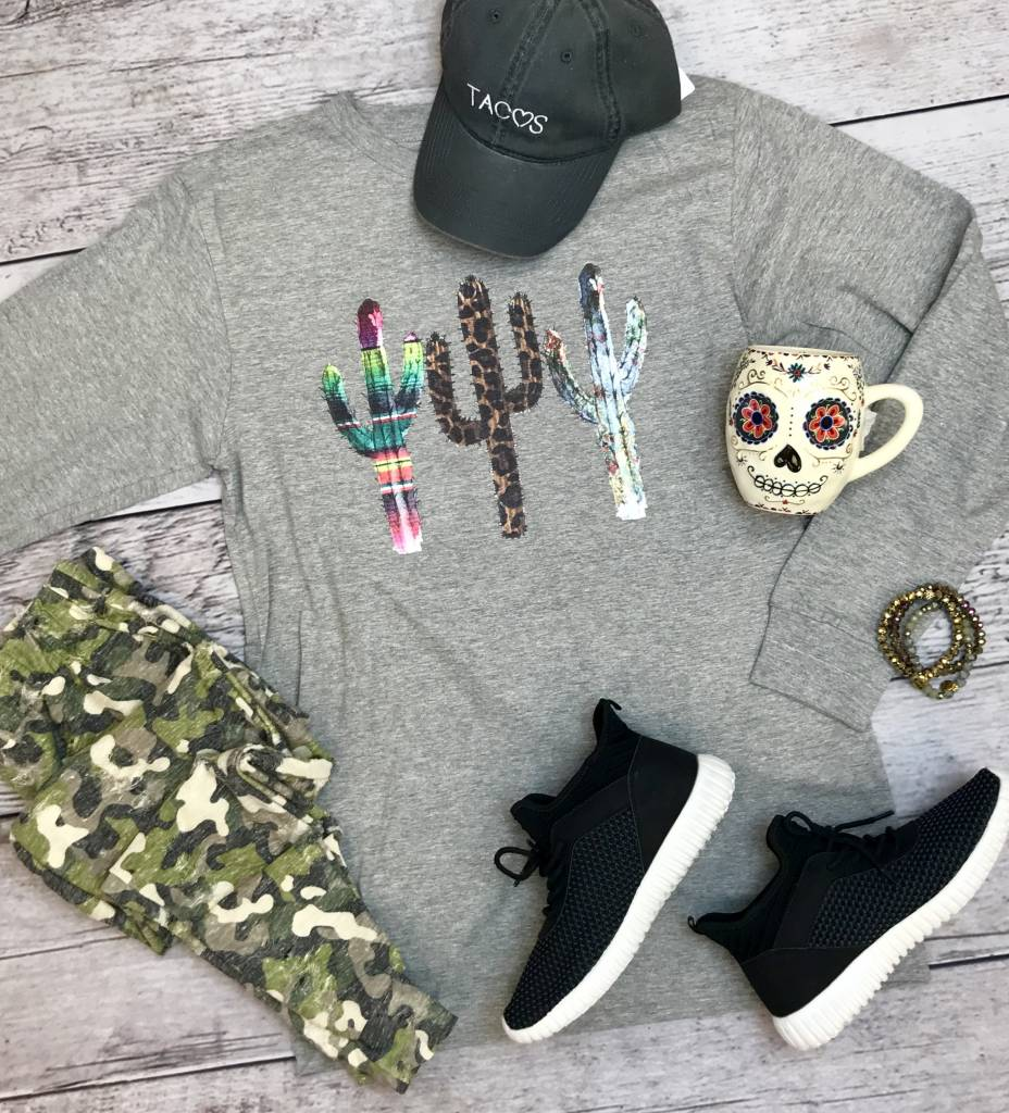 Heather Grey Cactus LS T-Shirt