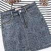 Charcoal Grey Leopard Skirt