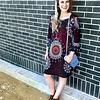 Black/Teal Geometric Tunic Dress