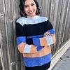 Blue Multi Striped Sweater Top