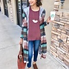Mocha and Mauve Long Sleeve Striped Duster