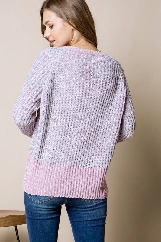 Dusty Pink Chenille Knit Sweater